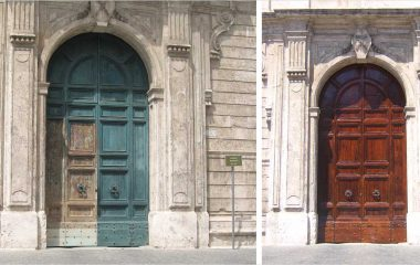 Wood Restoration Heritage Palazzo Torlonia before and after